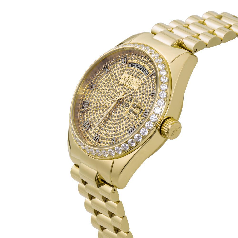 Miché Collections Iconic Men's Watch with Bezel Cubic Zirconia & Yellow Finish