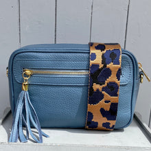 Load image into Gallery viewer, Bag Straps Gold Navy Leopard