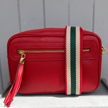 Load image into Gallery viewer, Bag Strap Red, Green & Ecru Stripe