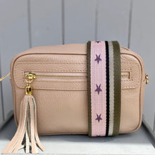 Load image into Gallery viewer, Bag Strap Pink/silver/khaki Stars