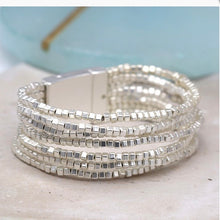 Load image into Gallery viewer, Multiwrap Silver Beaded Bracelet