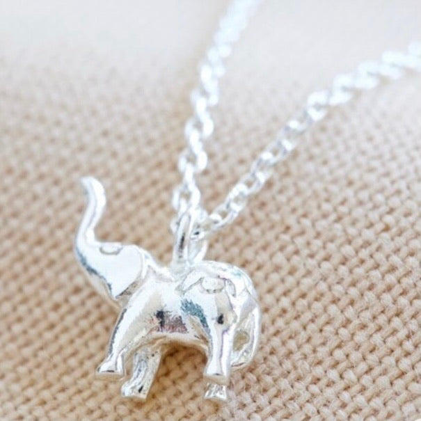 Tiny Elephant Pendant Necklace in Silver