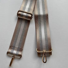 Load image into Gallery viewer, Bag Strap Taupe Silver Stripe