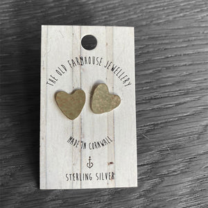 Hammered Heart Studs