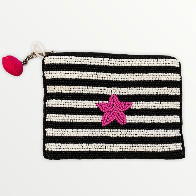 Striped Star Beaded Purse