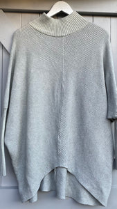 Ribbed V Jumper - Light Grey
