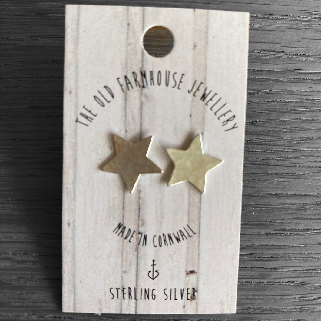 Hammered Star Studs