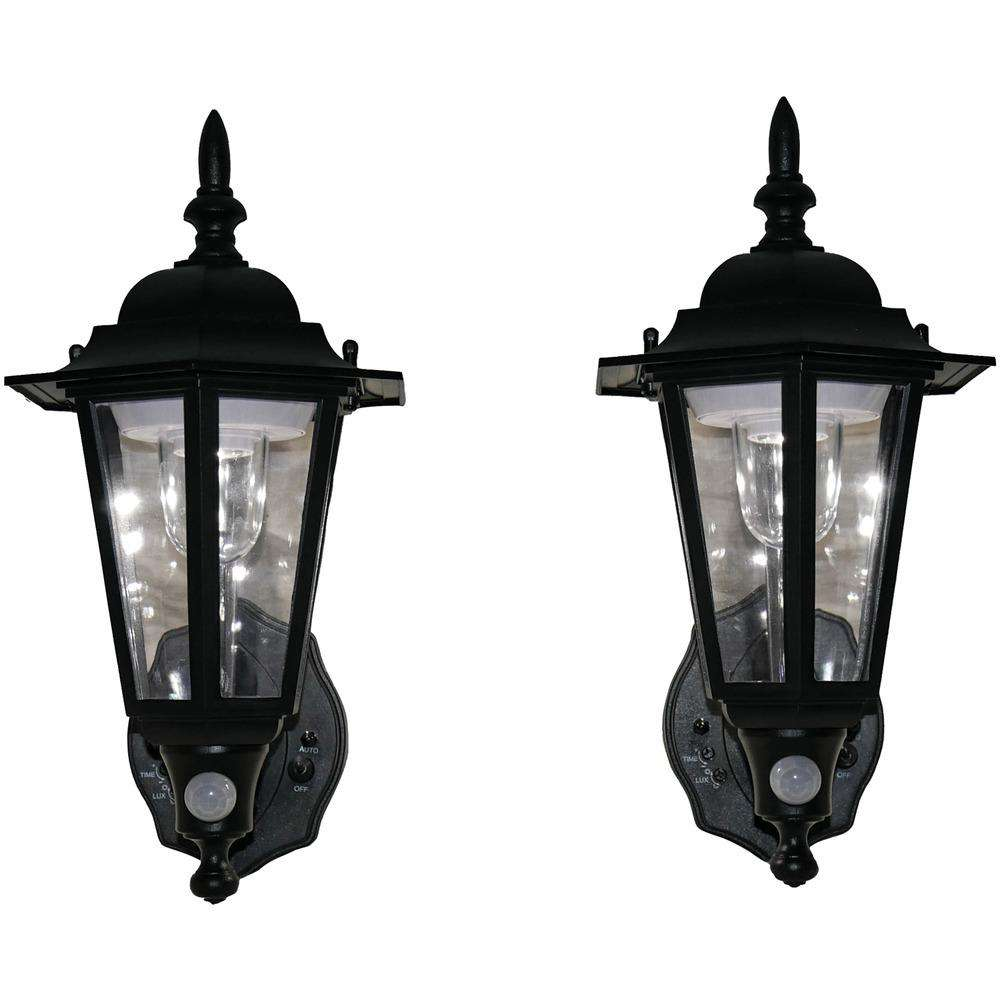 Black Battery-Powered Motion-Activated Plastic LED Wall Sconce, 2-Pack