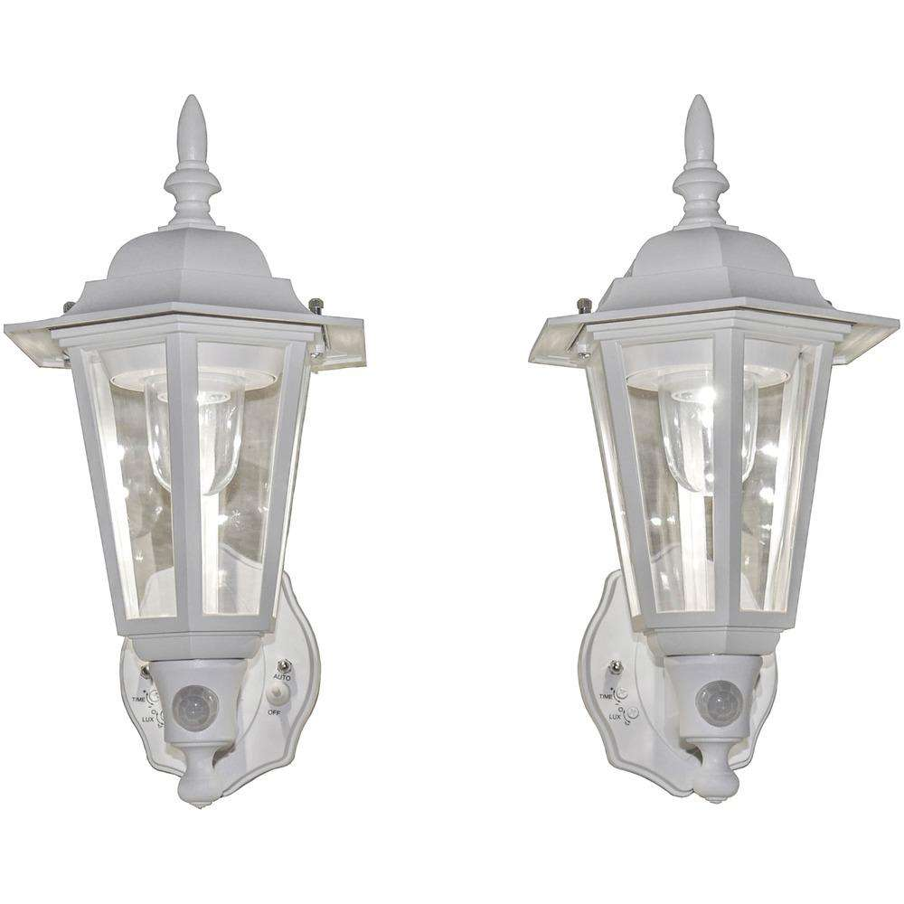 White Battery-Powered Motion-Activated Plastic LED Wall Sconce, 2-Pack