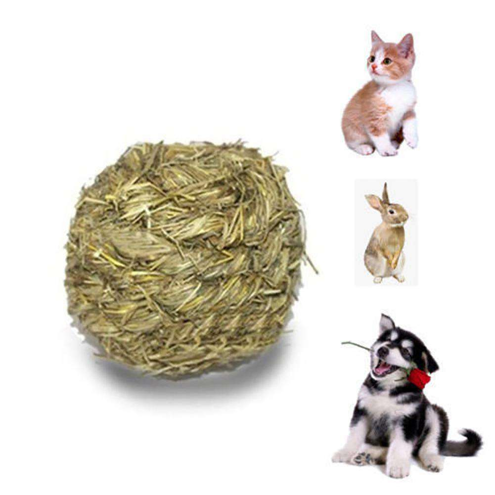 Pet Chew Playing Toy Natural Grass Ball With Bell for Rabbit Hamster Dog Cat - Nyrod Network- Nyrod