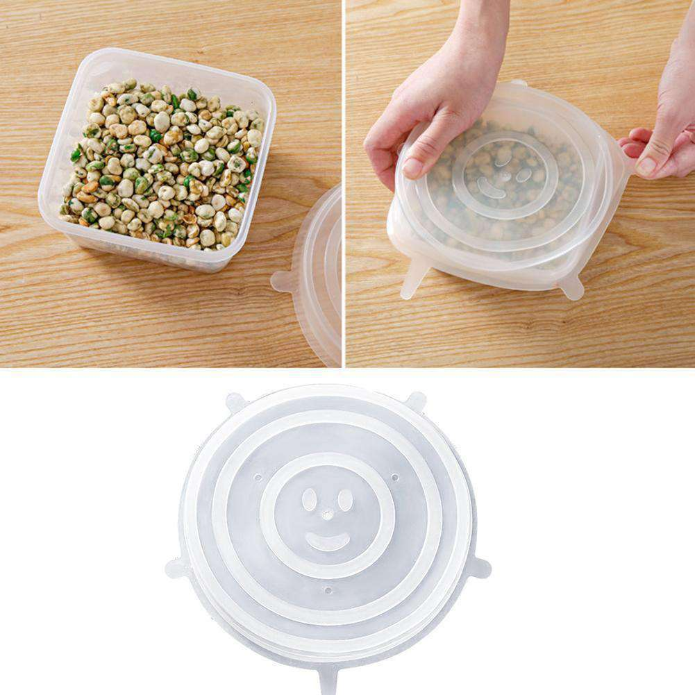6Pcs Kitchen Food Wrap Silicone Sealer Bowl Cup Pot Pan Lids Stretchy Covers - Nyrod Network- Nyrod