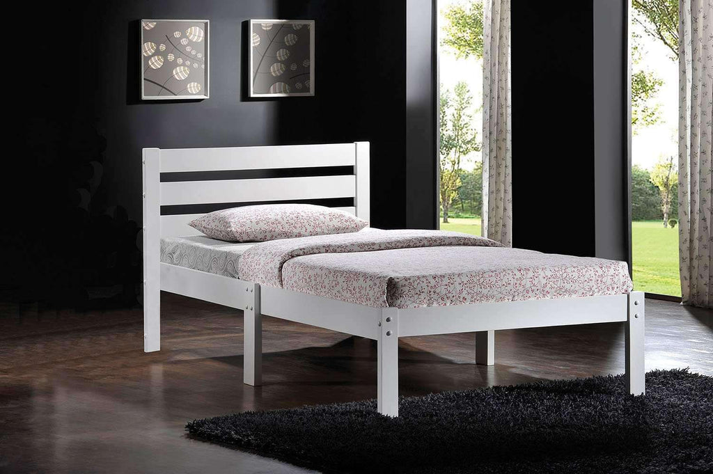 "Twin White Stylish Bed 78"" X 42"" X 32"" - Nyrod Network- Nyrod"