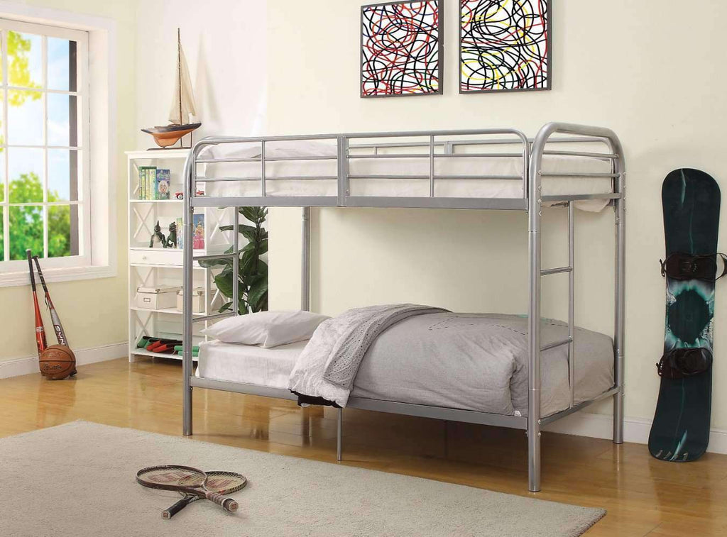 Twin/Twin Bunk Bed, Silver - Nyrod Network- Nyrod