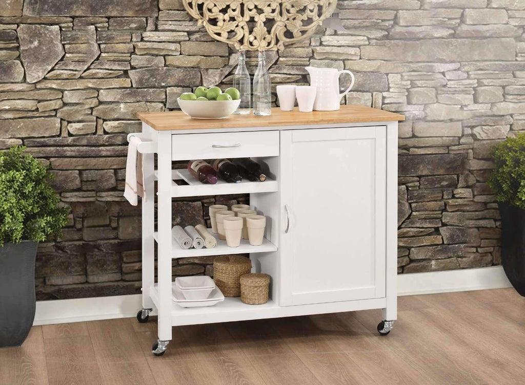 Kitchen Cart With Wooden Top, Natural & White - Nyrod Network- Nyrod