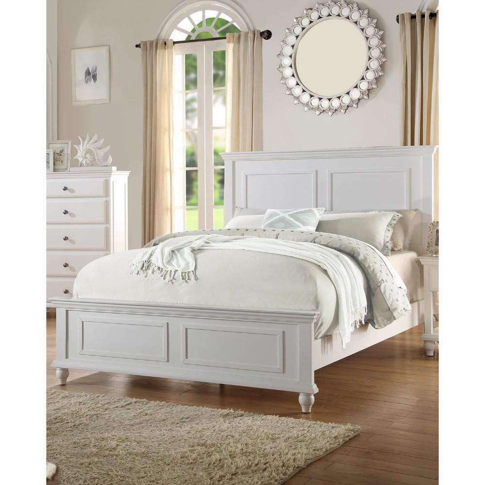 Queen Wooden Bed, White - Nyrod Network- Nyrod
