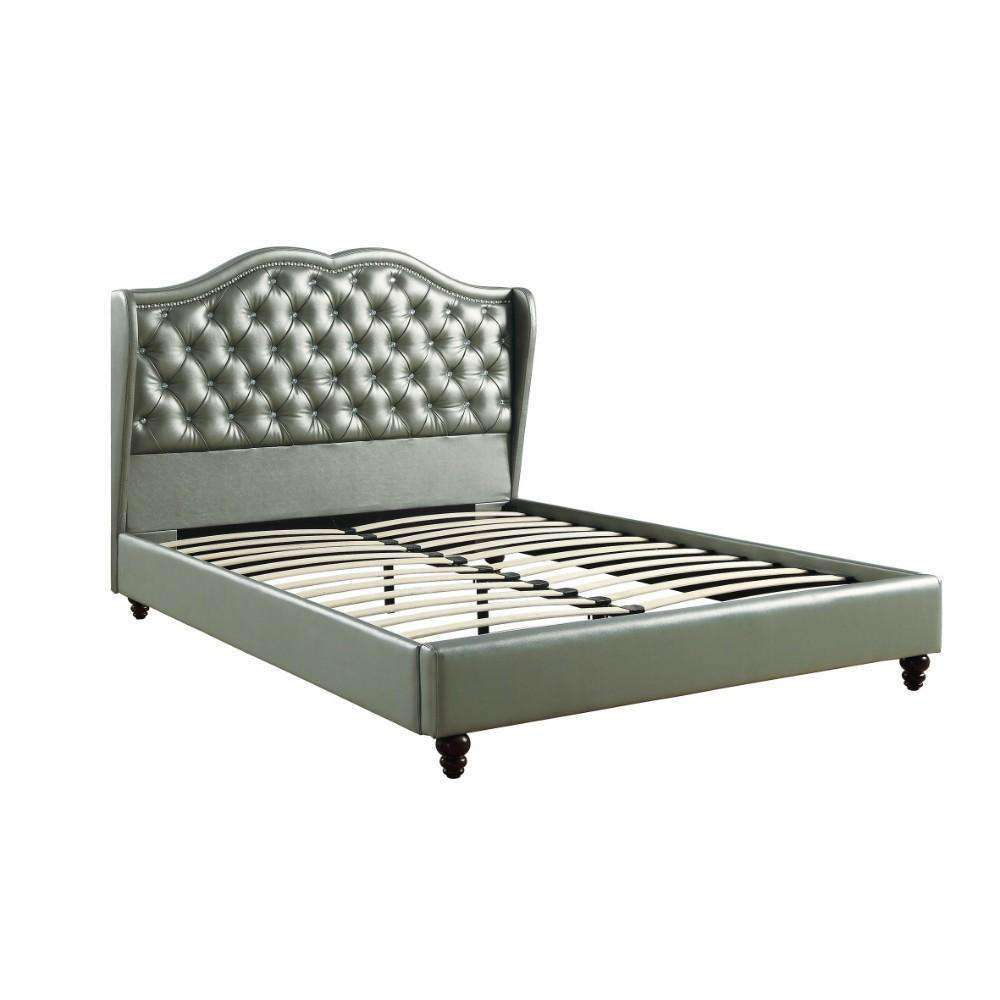 Queen Wooden Bed With PU Tufted Headboard, Silver - Nyrod Network- Nyrod