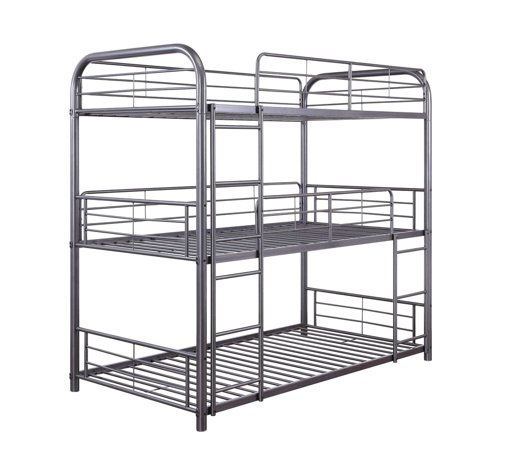 "Gunmetal Metal Triple Bunk Bed - 42"" X 79"" X 74"" - Nyrod Network- Nyrod"