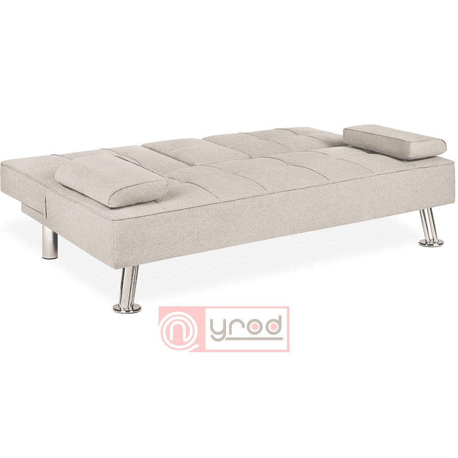 Linen Upholstered Modern Convertible Folding Futon Sofa Bed w/Metal Legs, 2 Cupholders - Best Choice Products- Nyrod