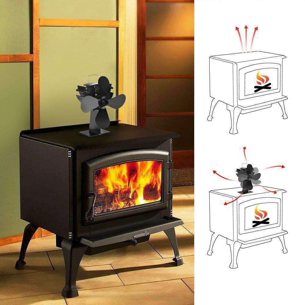 4 Blade Fireplace Fan Heating Furnace Fan Heat - Grey Ismene- Nyrod