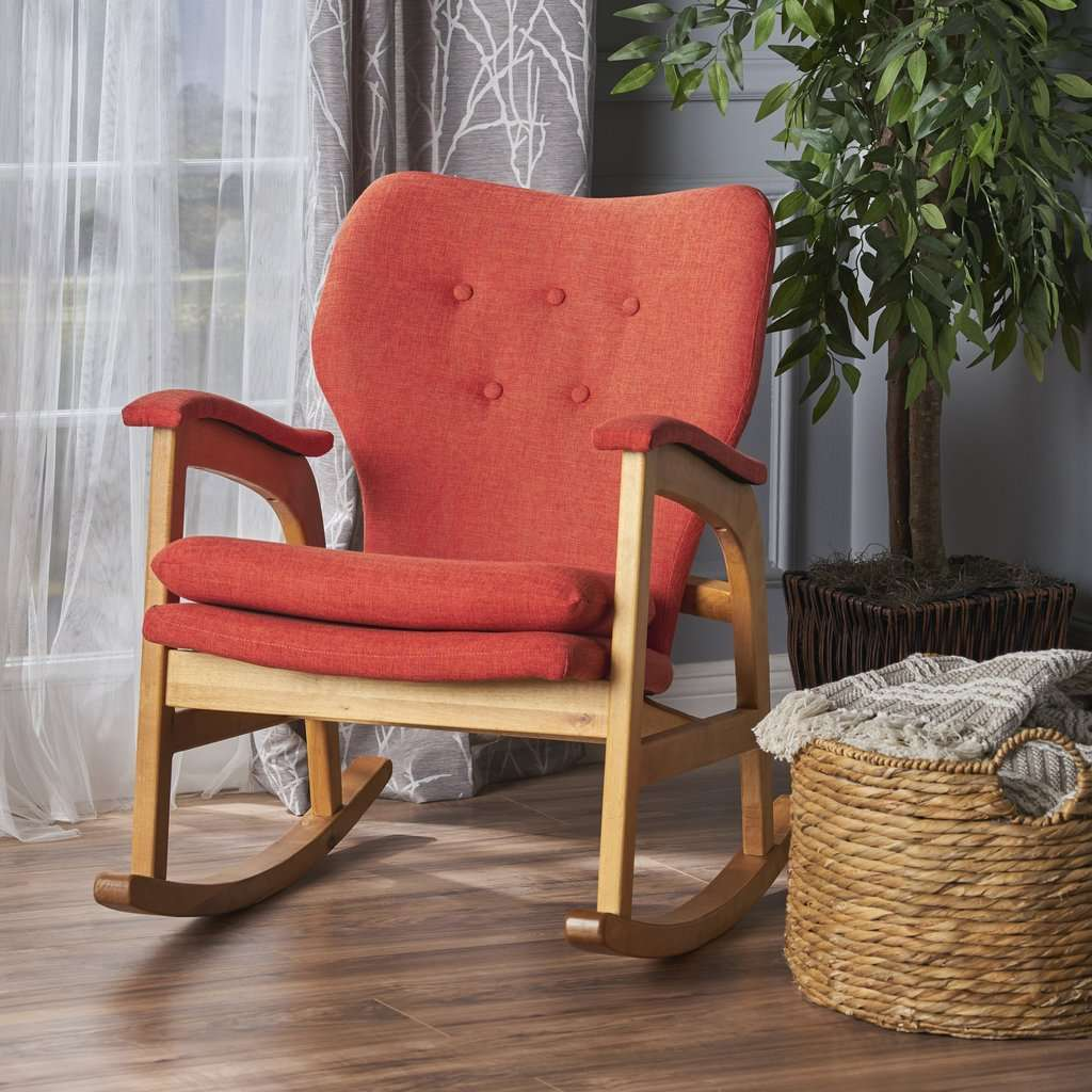 Whitman Mid Century Fabric Rocking Chair - Nyrod Network- Nyrod