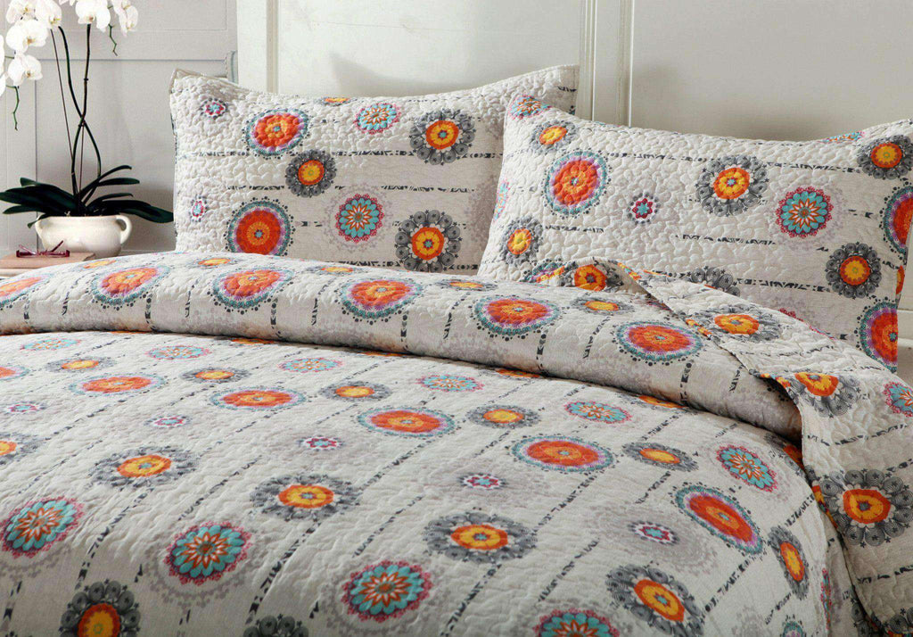 DaDa Bedding Bohemian Constellations Sun & Stars Patchwork Quilted Bedspread Set (KBJ1631) - DaDa Bedding Collection- Nyrod