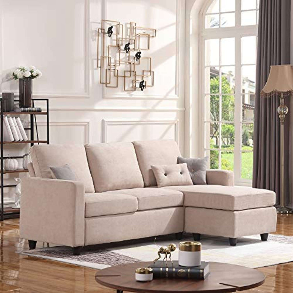 Convertible Sectional Sofa Couch, L-Shaped Couch with Modern Linen Fabric for Small Space Dark Beige - HONBAY- Nyrod