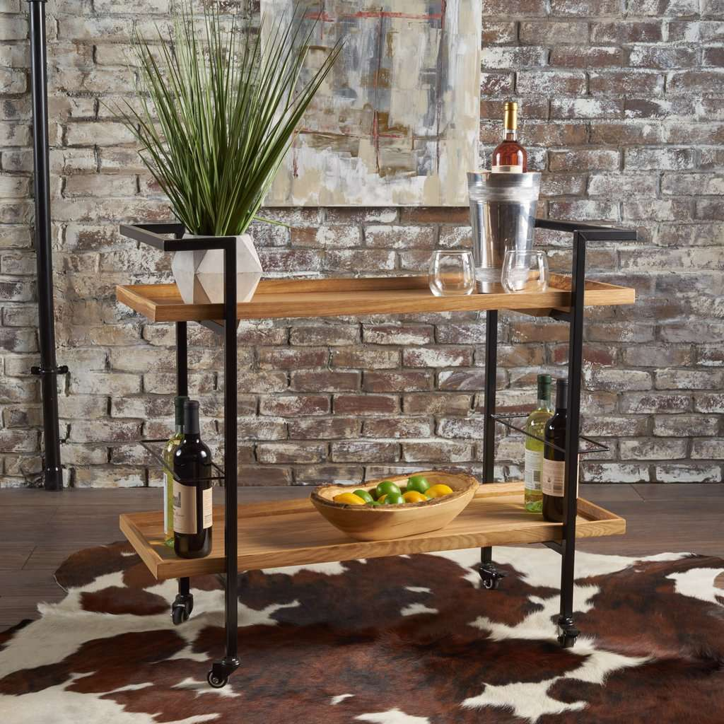 Gerard Modern Industrial Two Shelf Wood Finished Bar Cart with Rolling Casters - Nyrod Network- Nyrod