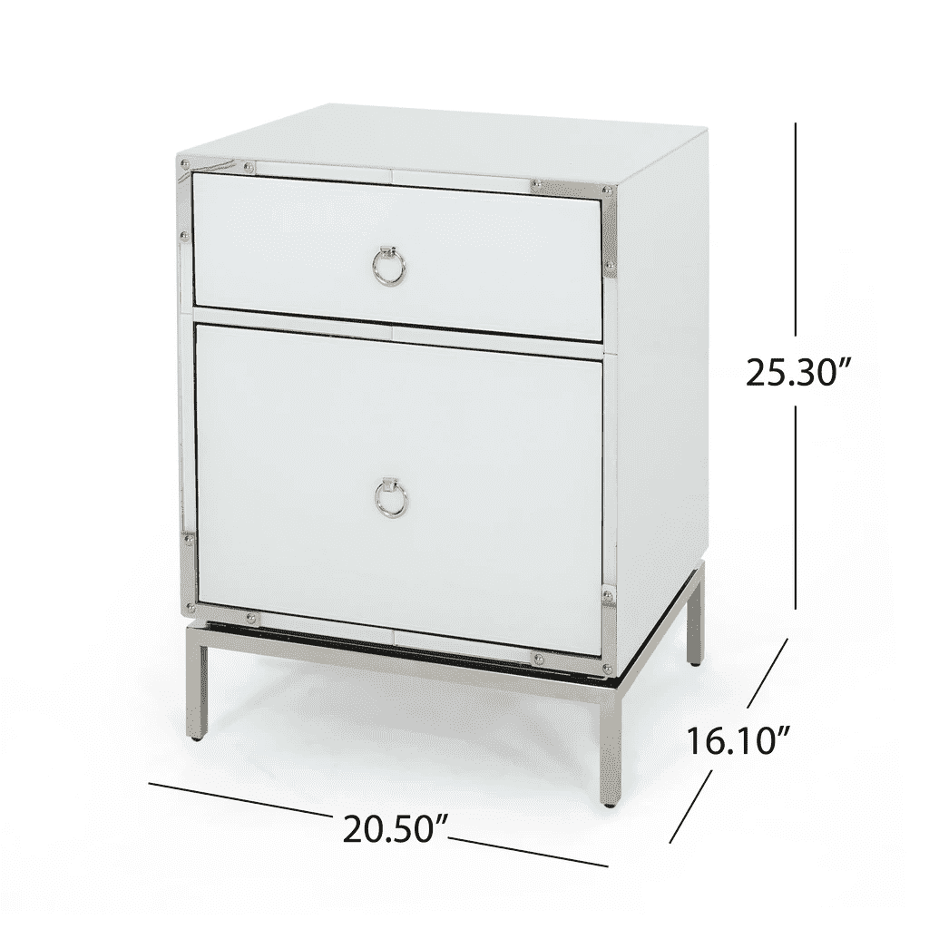 Danea White Glass 2 Drawer Bedside Table - Nyrod Network- Nyrod