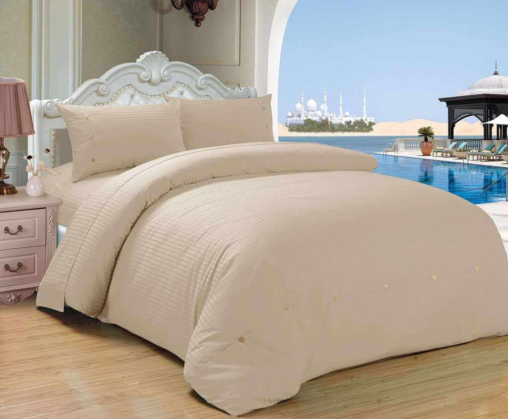 Couture Home Collection Cute Button Sateen Stripe 2 pcs Comforter Set - Silver Sand Brier- Nyrod