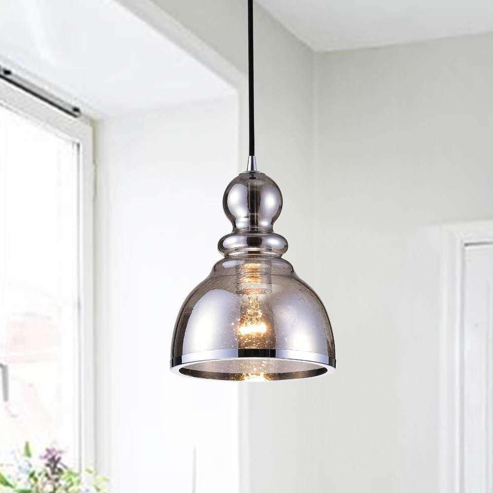 Alita Antique Black Pendant with Smoked Bubble Glass and Chrome Edge - The Lighting Store- Nyrod