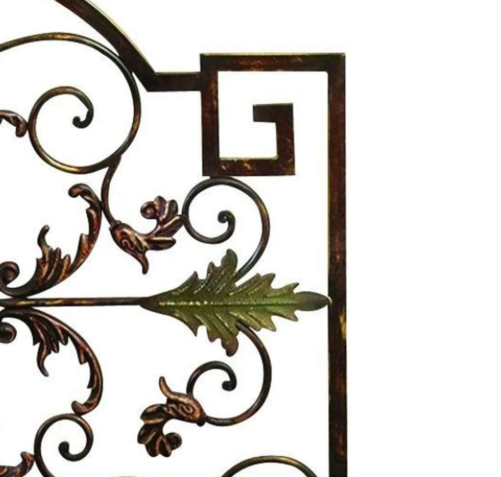 Domed Top Leaf Patterned Single Panel Metal Fire Screen, Bronze and Green