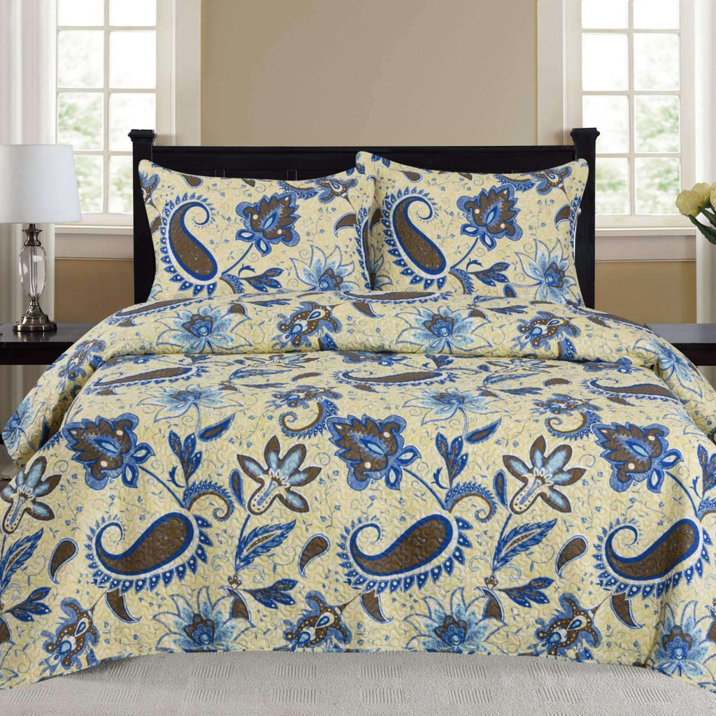 Cynthia - 3 Piece Quilt Set - Blue - Nyrod Network- Nyrod