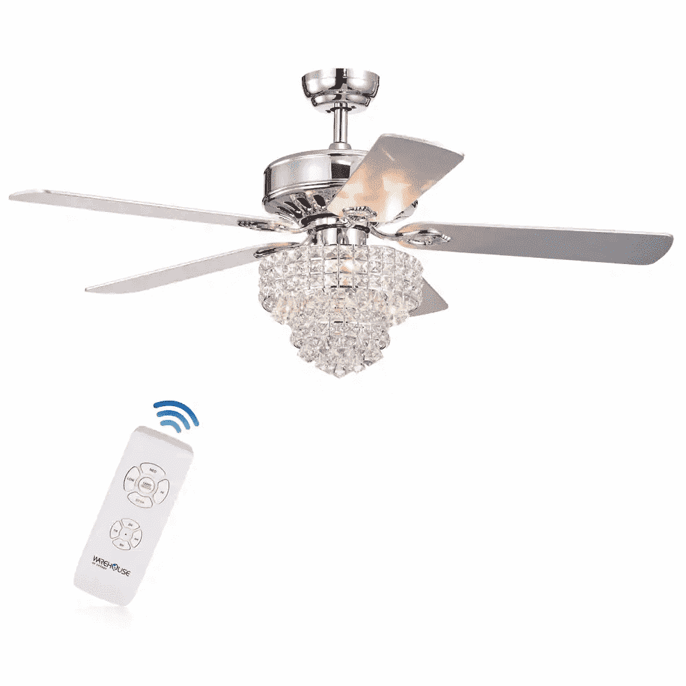 Bryanya 5-Blade 52-inch Chrome Lighted Ceiling Fans with Crystal Shade - Warehouse of Tiffany- Nyrod