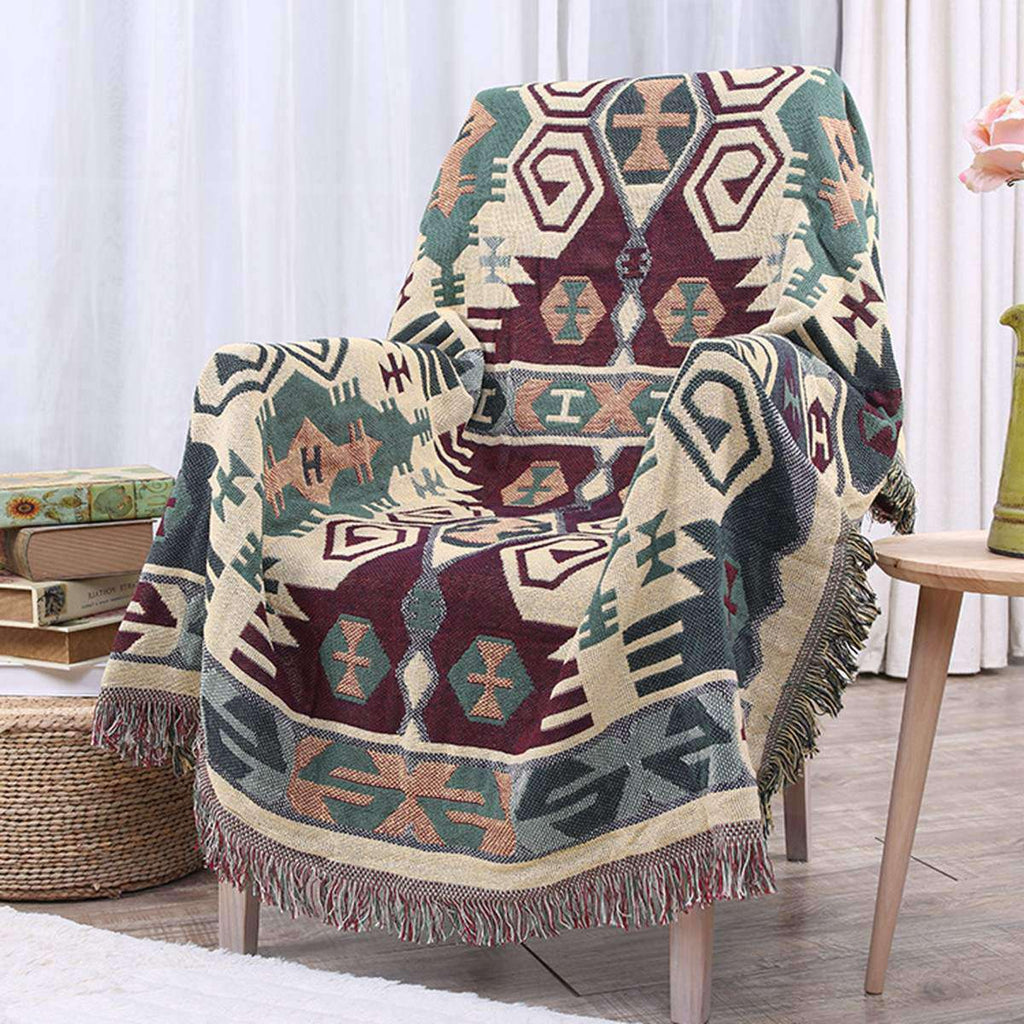 Cotton Knitted Blankets Throw Tribal Bohemian Ethnic - Nyrod Network- Nyrod