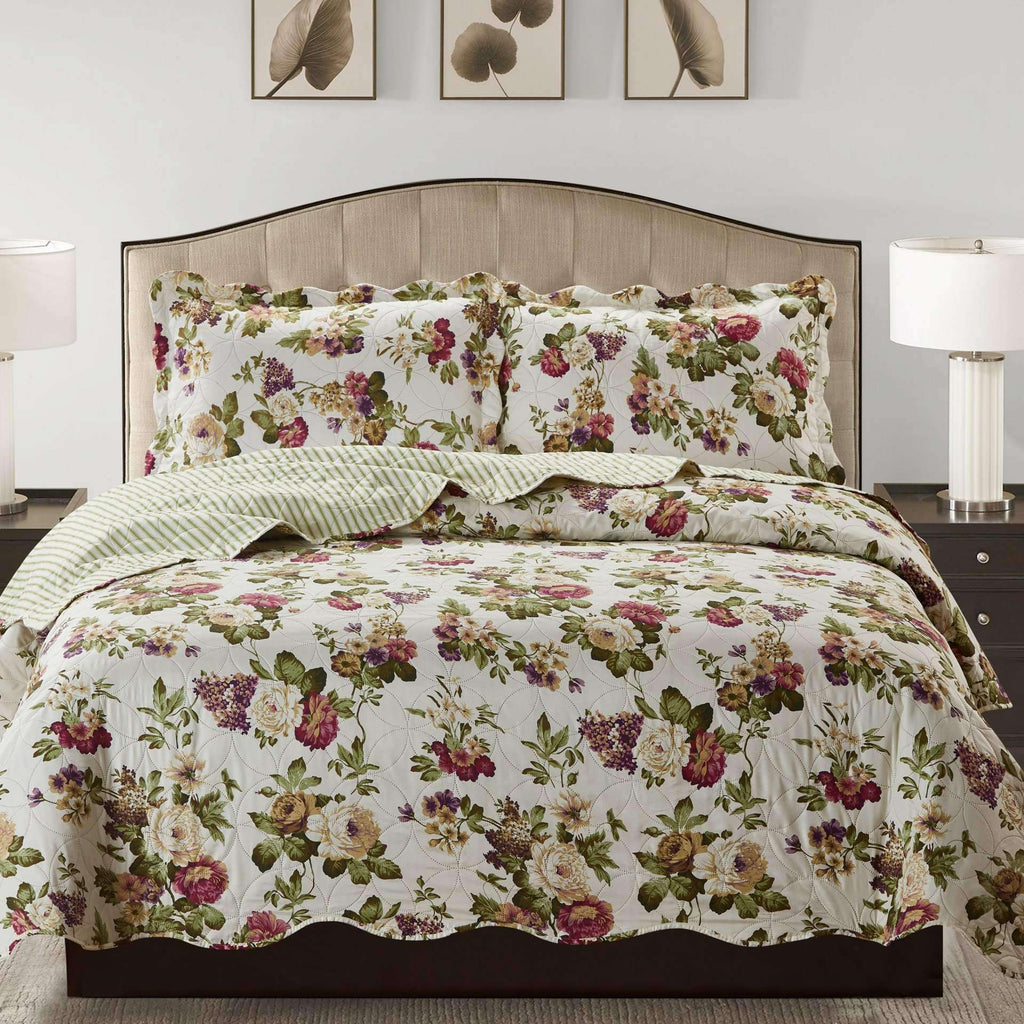 Jennifer 3 Piece Quilt Set - Green - Nyrod Network- Nyrod