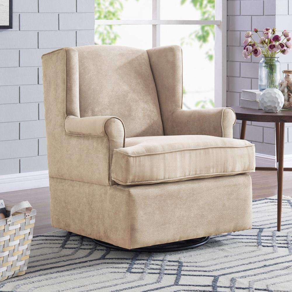 Khaki Microfiber Hidden-pedestal Swivel Glider Wing-back Armchair - Handy Living- Nyrod