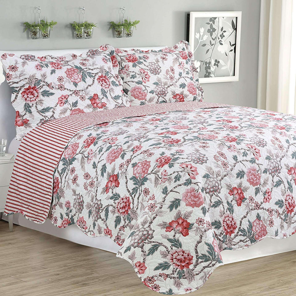 Melissa - 3 Piece Quilt Set - Multi Color Rose - Nyrod Network- Nyrod