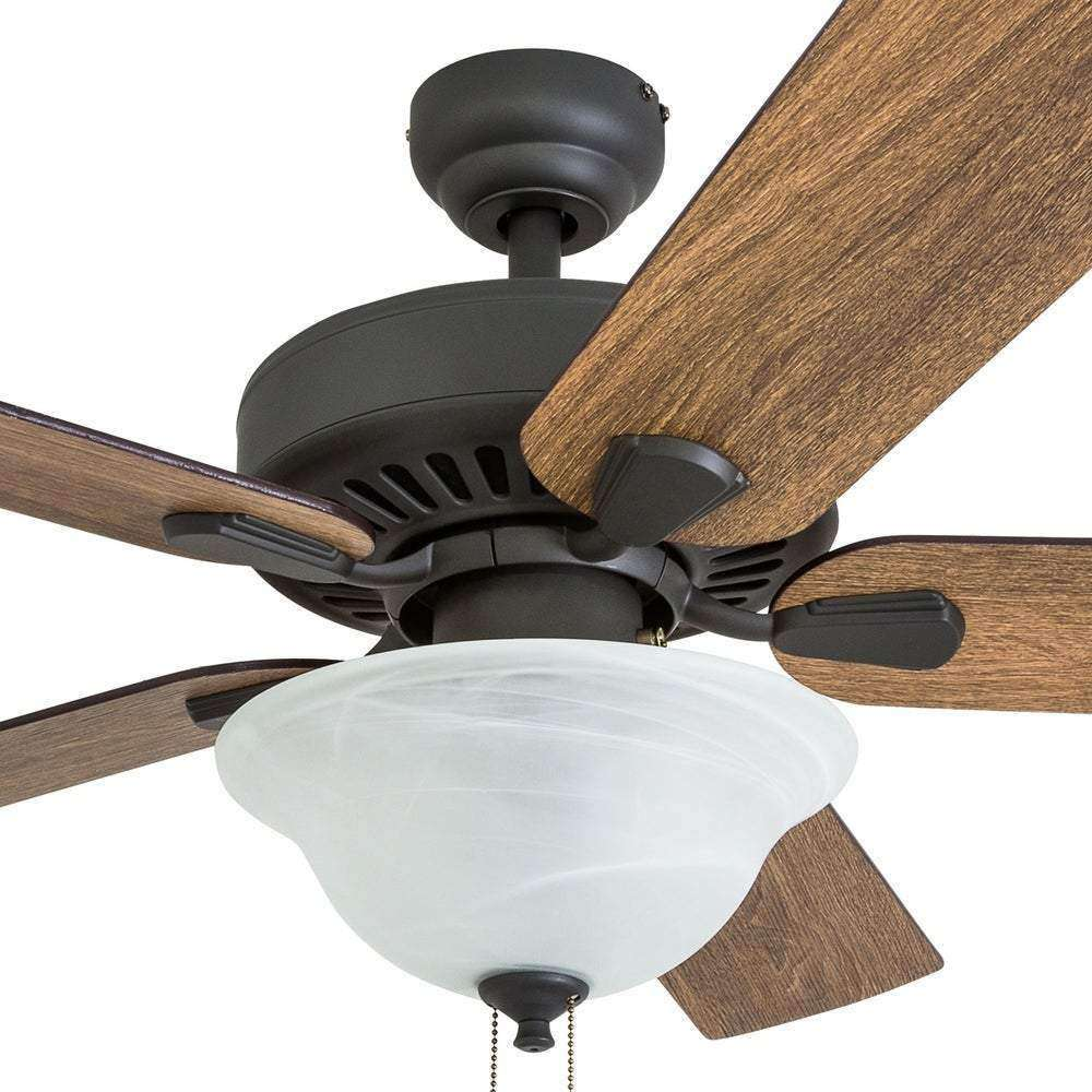 Little Hat Farmhouse 52-inch Aged Bronze LED Ceiling Fan in Bowl Light in Barnwood Blades - The Gray Barn- Nyrod