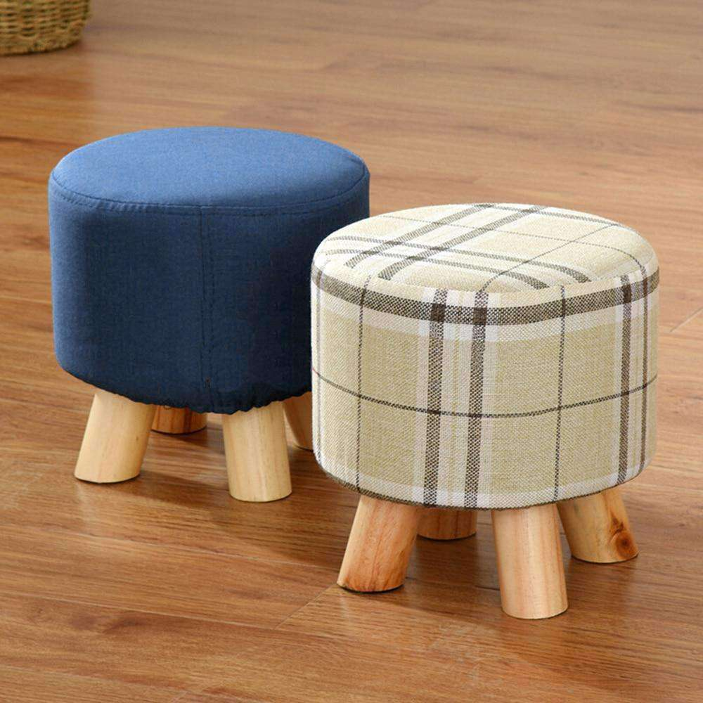 Round Stool Creative Solid Wood Thickened - Grey Ismene- Nyrod