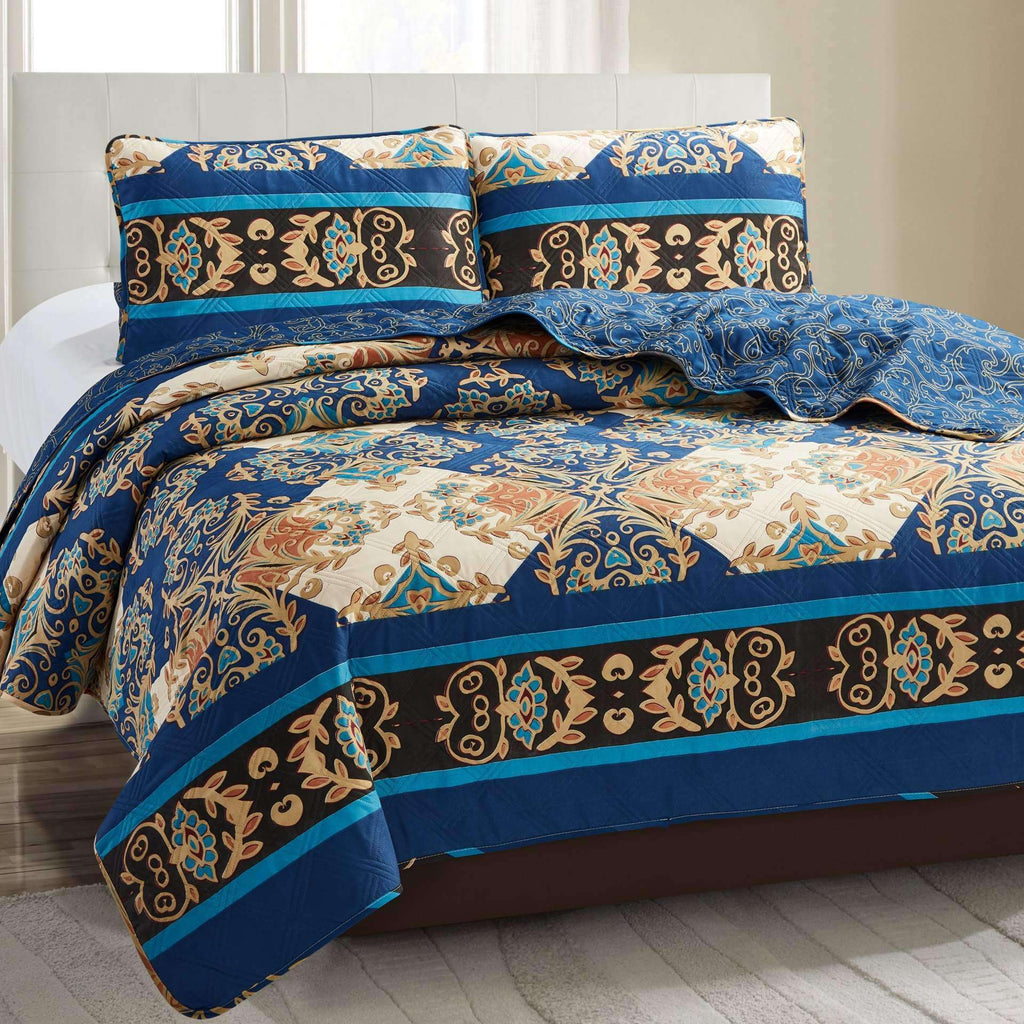 Grace 3 Piece Quilt Set - Navy Royal - Nyrod Network- Nyrod