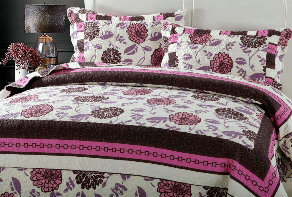 Bohemian Floral Chrysanthemum Vines Hot Pink & Brown Reversible Patchwork Quilted Coverlet Bedspread Set (KBJ1629) - Nyrod Network- Nyrod