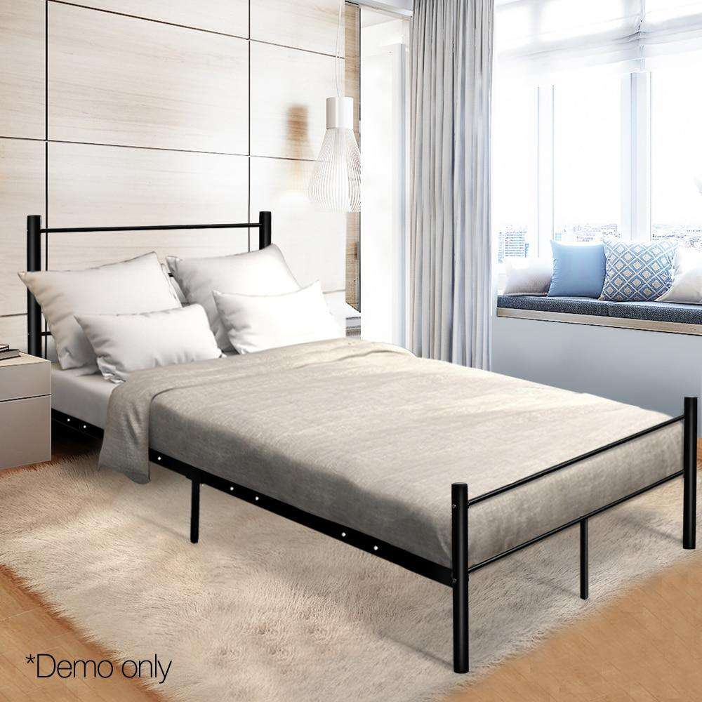 137 X 190cm Artiss Metal Double Bed Frame Black Simple Design - Nyrod Network- Nyrod