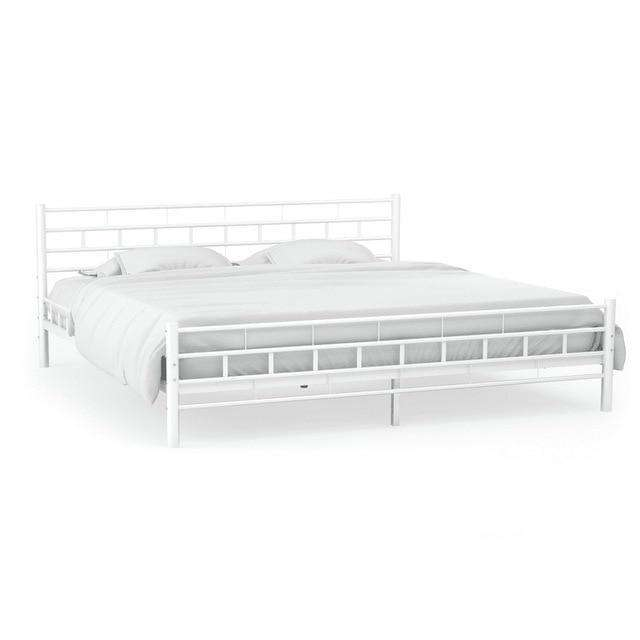 140x200 CM Simple Modern Metal Bed Frame with Slatted Base Block Design - Nyrod Network- Nyrod