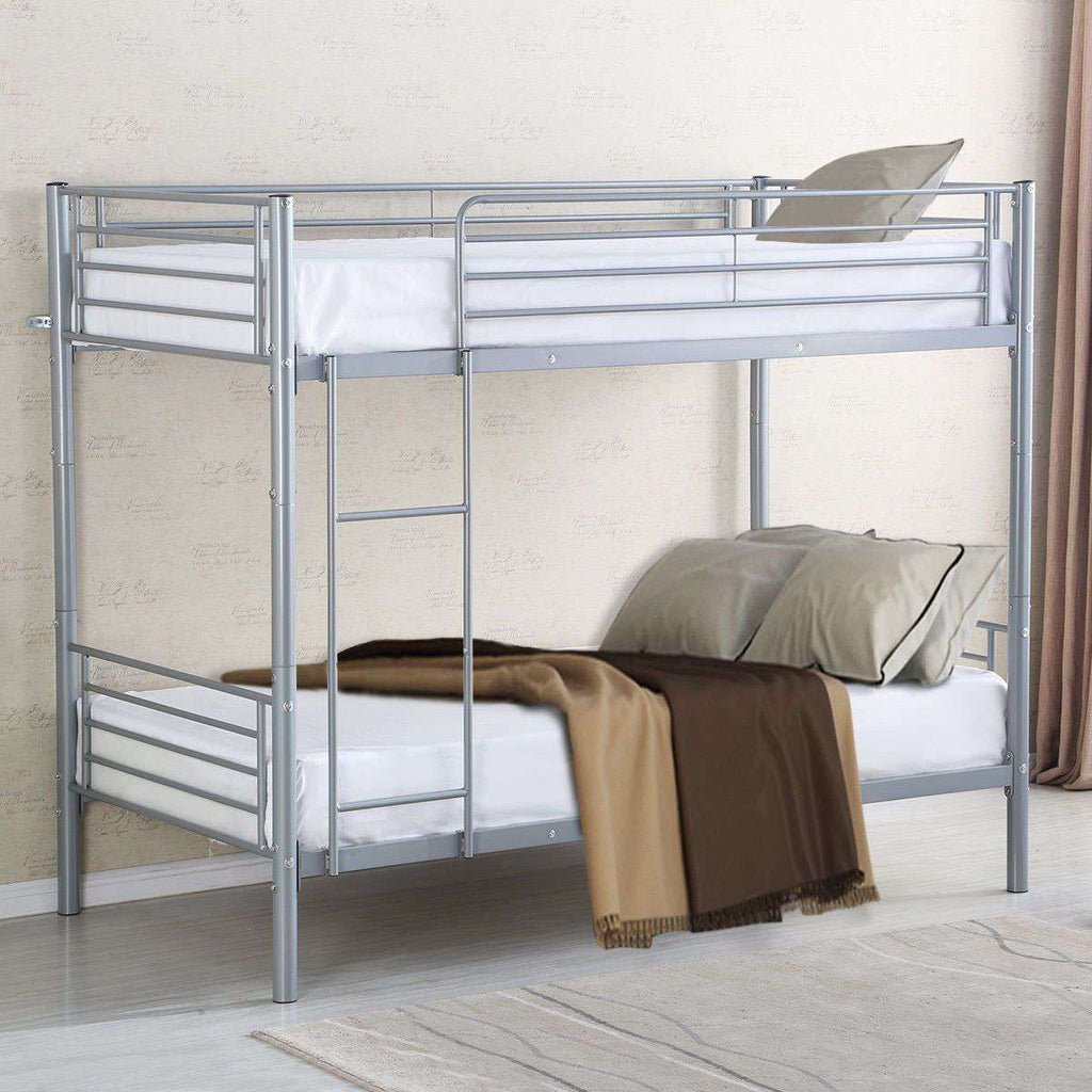Metal Twin Over Twin Bunk Beds Frame Ladder Kids Adult Children Bedroom Dorm New - Nyrod Network- Nyrod