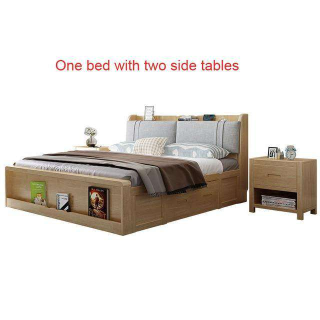 Solid Wood Double Wedding Bed With Storage - Nyrod- Nyrod