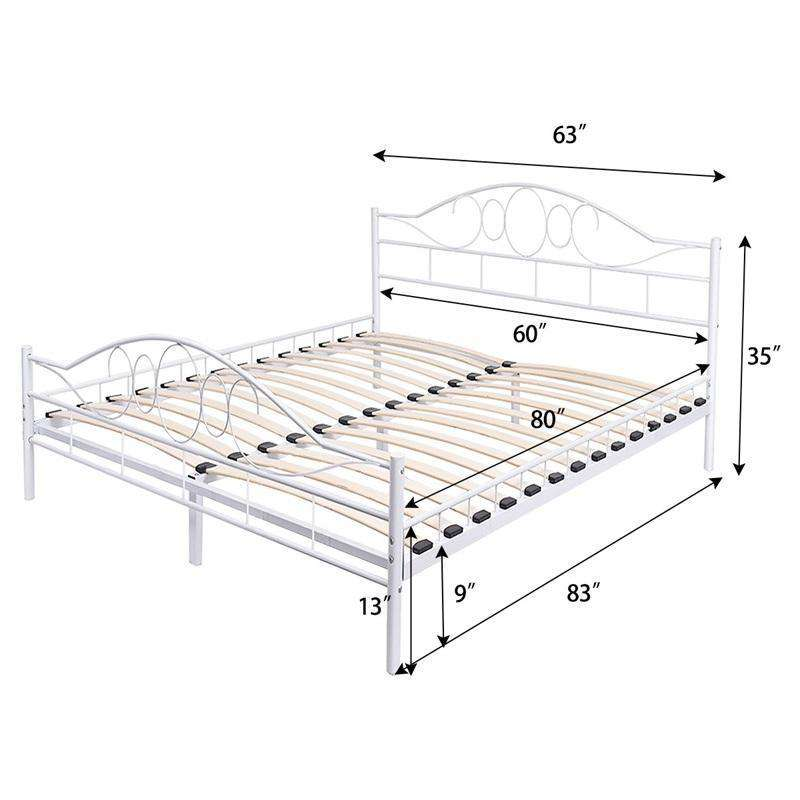 White Steel Bed Frame with Wood Slats - Nyrod- Nyrod