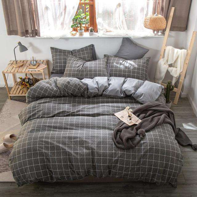 Cotton Simple Style Plaid Bedding Sets - Nyrod Network- Nyrod