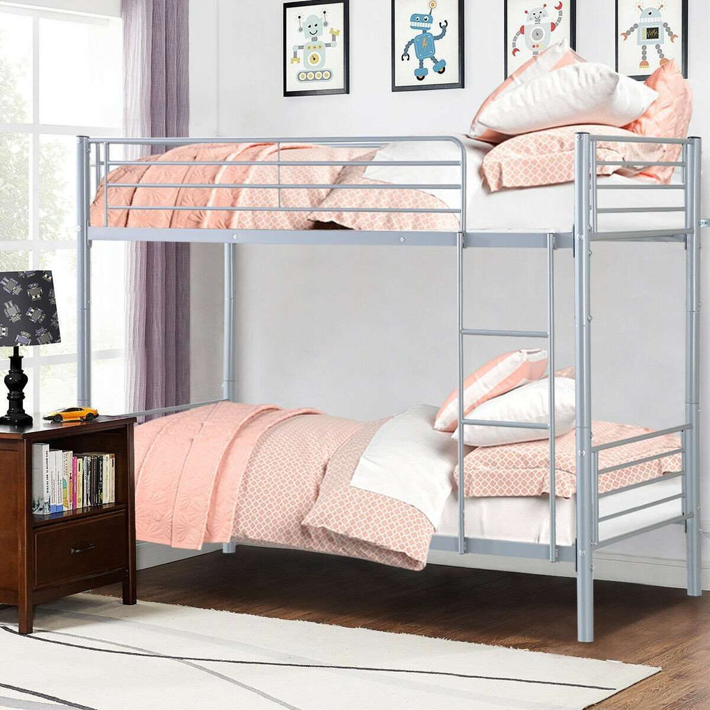 Kids Adult Metal Ladder Twin Bunk Beds Frame - Nyrod- Nyrod