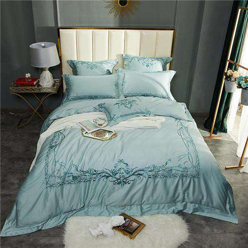 White Cotton Embroidery Linen Duvet Cover Bed Sheet - Nyrod- Nyrod