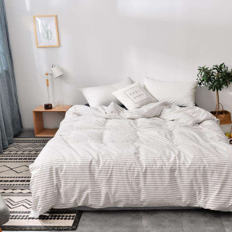 Cotton Wash White Stripes Bedding Sets - Nyrod Network- Nyrod